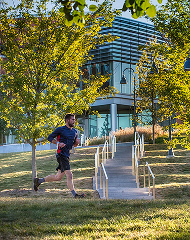 Student running outdoors