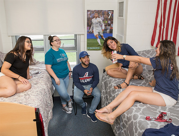 Campus Dorm with students