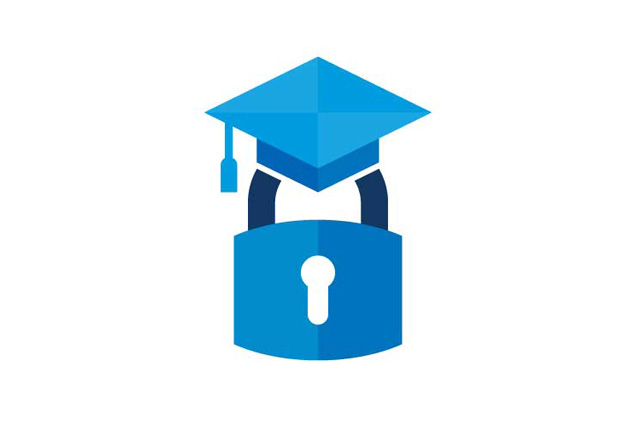 safecampussummit.org icon of a padlock with a graduation cap on top