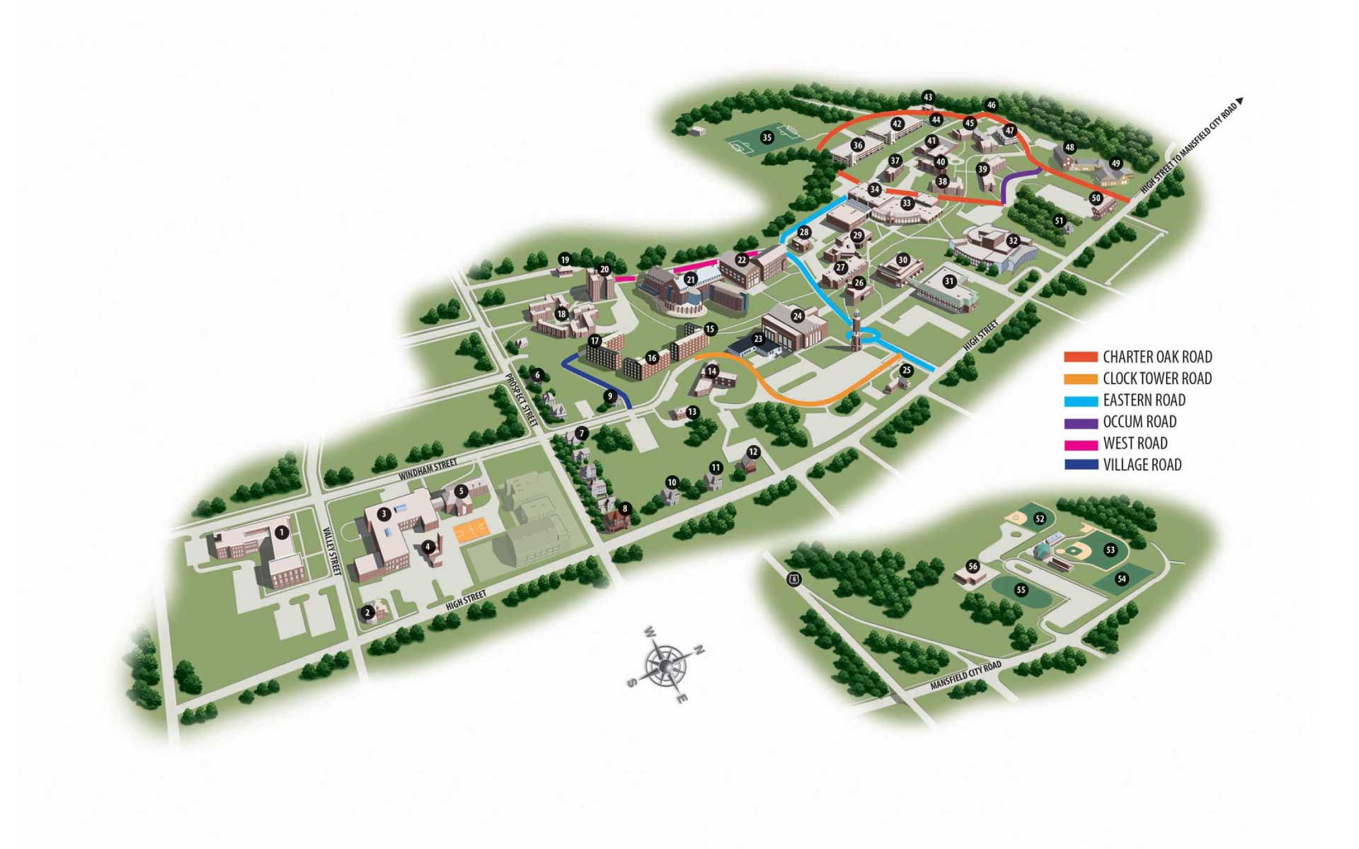 eastern connecticut state university map Campus Map Eastern eastern connecticut state university map