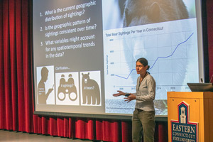 "Kim Diver of Wesleyan University presents her presentations titled ""Spatiotemporal Patterns of Reported Black Bear Sighting in Connecticut, 2007-1019."""
